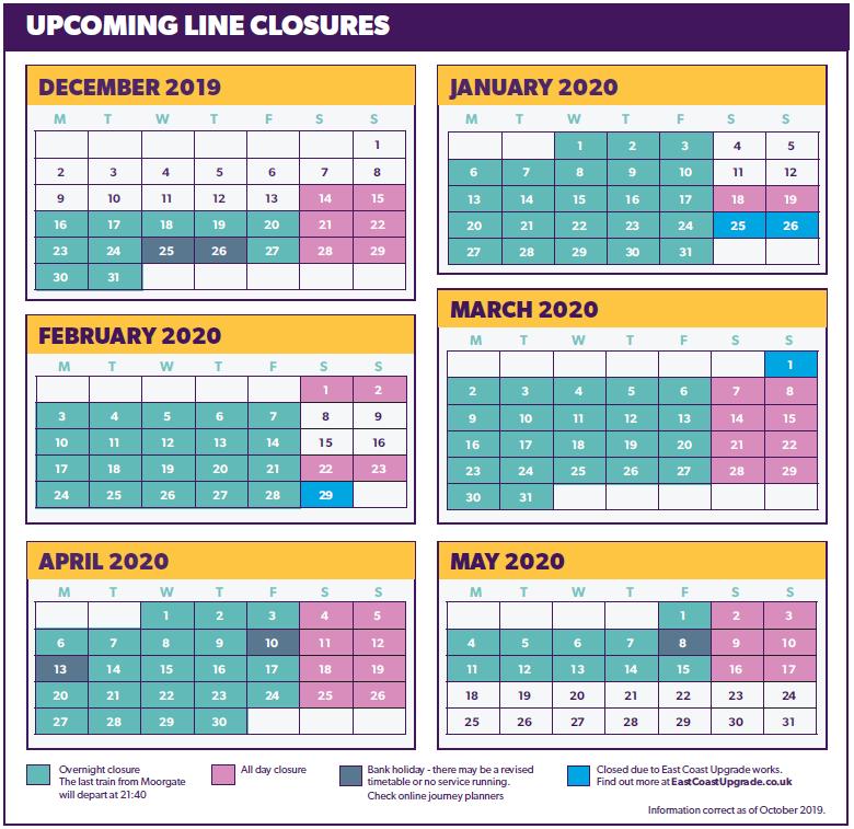 Northern city line closures calender