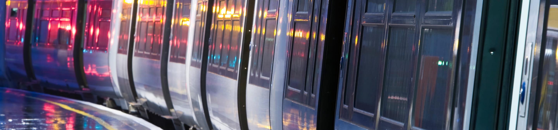 a subway train at night